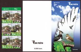 Bosnia And Herzegovina 2019 Europa CEPT National Birds Fauna Vanellus Vanellus Eremophila Alpestris, Booklet MNH - 2019