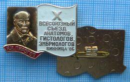 USSR / Badge  Soviet Union UKRAINE Medicine. All-Union Congress Anatomy Histology Embryology. Dr. Pirogov Vinnitsa 1986 - Medical