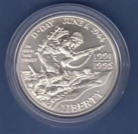 USA 1991-95 1$ Silber-Gedenkmünze 50 Jahre 2. Weltkrieg, D-Day 1944 MS / Stgl - Ohne Zuordnung