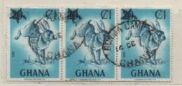 Ghana 1984 MiNr.: 1018 Hase/Aufdruck, Gestempelt 3er Streifen; Hare Overprint Used - Ghana (1957-...)