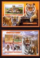 Burkina Faso, 2019. [bf1911] Tigers (s\s+block) Imperf - Raubkatzen