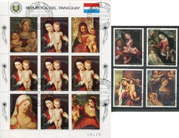 NAVIDAD XMAS CHRISTMAS NOEL, VIRGEN CON EL NIÑO JESUS. PARAGUAY 1987 YVERT 1065 / 1069 COMPLETE SERIE OBLITERES -LILHU - Arte