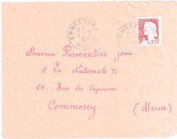 ERNECOURT Meuse Lettre 0,25 F Decaris  Yv 1263 Ob 2 5 1961 Recette Distribution Lautier B7 - Manual Postmarks