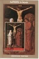 "Ajman 1972 ""La Crocifissione"" Quadro Dipinto Da Ugo Van Der Goes Paintings Tableau Sheet CTO  Imperf. - Ajman"
