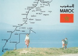 Morocco Map Of Coast, Flag, National Costume C2000 Vintage Postcard - Other