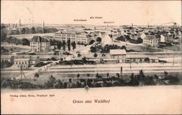 ! Alte Ansichtskarte Gruss Aus Waldhof, Mannheim, Bahnhof, Riedbahn, 1908 - Mannheim