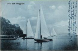 ! Alte Ansichtskarte Gruss Vom Müggelsee, 1909, Stempel Rahnsdorfer Mühle - Mueggelsee