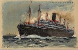 "1909 BARCOS / SHIPS , TARJETA POSTAL  CIRCULADA, CORREO MARÍTIMO,  HAMBURG - AMERIKA LINIE , "" PRESIDENT GRANT "" - Dampfer"