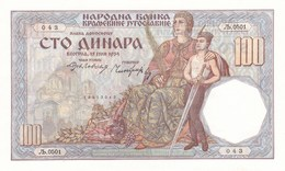 100 Dinara 1934 SOKOLAC Yugoslavia Eagle !!!  UNC RRR - Jugoslawien