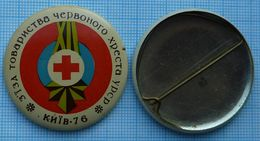 USSR /  Badge / Soviet Union / UKRAINE Medicine. Red Cross. Congress Coat Of Arms Of Kiev 1976 - Medical