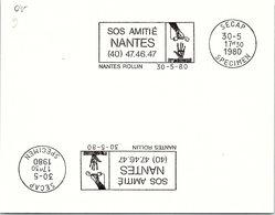 SPECIMEN SECAP - SOS AMITIE NANTES - NANTES ROLLIN 30.5.1980   /3 - Postmark Collection (Covers)