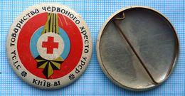 USSR /  Badge / Soviet Union / UKRAINE Medicine. Red Cross. Congress Coat Of Arms Of Kiev 1981 - Medical