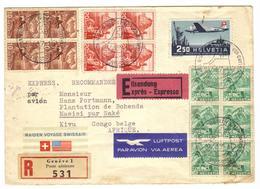 Belgisch Belgian Congo Belge Airmail Express Incoming Masisi From Geneva - 1947-60: Storia Postale