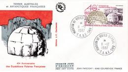 TAAF PREMIER JOUR 1987 PA102 40eme Anniversaire Des Expéditions Polaires 11-12-1987 St Paul Et Amsterdam - FDC
