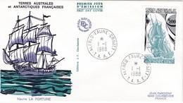 TAAF PREMIER JOUR 1988 137 Voilier La Fortune 01-01-1988 CROZET - FDC