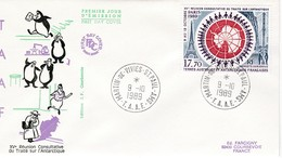 TAAF PREMIER JOUR 1989 PA109 Réunion Consultative Traité Antarctique 09-10-1989 St Paul Et Amsterdam - FDC