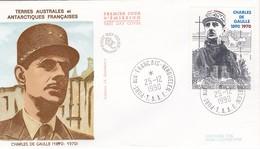 TAAF PREMIER JOUR 1991 PA118 De Gaulle 25-12-1990 Kerguelen - FDC