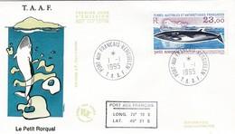 TAAF PREMIER JOUR 1995 197 Petit Rorqual 01-01-1995 Kerguelen - FDC