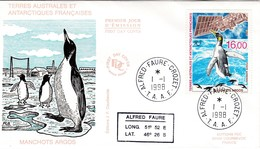 TAAF PREMIER JOUR 1998 PA148 Manchot Argos 01-01-1998 Crozet - FDC