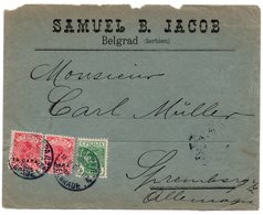 1902 SERBIA, SERBIA JUDAICA, BELGRADE TO SHRENBERG, GERMANY, FRONT ONLY, COMPANY HEAD COVER, SAMUEL B. JACOB - Serbia