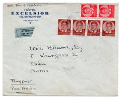 1937 YUGOSLAVIA, CROATIA, HOTEL EXCELSIOR DUBROVNIK TO VIENNA, AUSTRIA, AIR MAIL - Covers & Documents