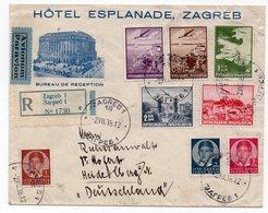 1938 YUGOSLAVIA, CROATIA, HOTEL ESPLANADE ZAGREB TO HEIDELBERG, GERMANY, AIR MAIL, RECORDED - Covers & Documents