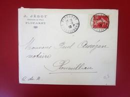 1910 Lettre à Entête Greffier De La Paix Plouaret Marcophilie CAD Daguin Timbre Semeuse Seul Sur Lettre Pr Houmilliau - Postmark Collection (Covers)
