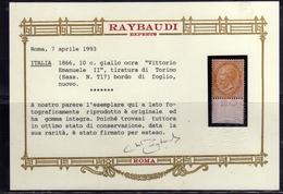 ITALIA REGNO ITALY KINGDOM 1863 1866 EFFIGIE RE VITTORIO EMENUELE II CENT. 10c TORINO MNH OTTIMA CENTRATURA CERTIFICATO - 1861-78 Vittorio Emanuele II