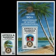 Barbuda 1997 - Mi-Nr. 1872 & Block 273 ** - MNH - Signiert - Rotary - Antigua Und Barbuda (1981-...)