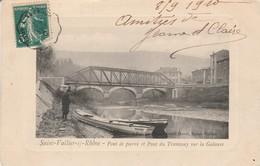 Drome : SAINT-VALLIER : Pont De Pierre Et Pont Du Tramway Sur La Galaure - ( Barque - Rhone ) - Carte Rare - France