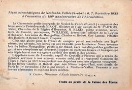 CPA / Nesles La Vallée (95) Invitation Fêtes Aérostation  Octobre 1933 Rare Caisse Des Ecoles  Ed La Pensée - Nesles-la-Vallée