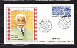 """"""" PIERRE DE COUBERTIN """" Sur Enveloppe 1er Jour De MONACO De 1992. N° YT 2859. FDC - Olympische Spiele"""