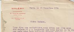 LETTRE AVEC SON ENVELOPPE DE WALERY - PHOTOGRAPHE - PARIS - A UNE CLIENTE - 1934 - France