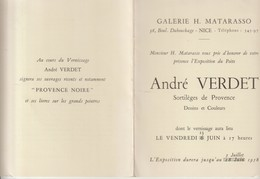 GALERIE H. MATARASSO - NICE - ANDRÉ VERDET - VERNISSAGE - 1958 - DEUX FOIS POÈTE DE LA PROVENCE - LE NOCI - DESSINS ET C - Publicités