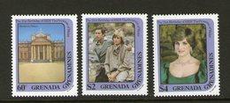 GRENADA GRENADINES, 1982 PRINCESS DIANA 3 MNH - Grenada (1974-...)