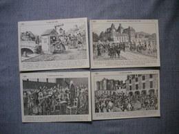 Lot De 4 Cartes Illustrées Signé CARLIER  -  Histoire De FRANCE  -  Numéros  61  -  63  -  64  -  65 - Histoire