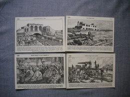 Lot De 4 Cartes Illustrées Signé CARLIER  -  Histoire De FRANCE  -  Numéros   83  -  85  -  86  -  87 - Histoire