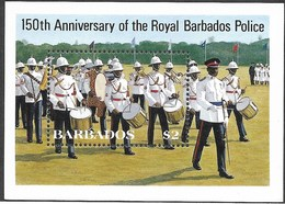 Barbados,  Scott 2018 # 674,  Issued 1985,  S/S Of 1,  NH,  Cat $ 3.75,  Police - Barbados (1966-...)
