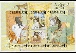 ALDERNEY, 1996 CATS MINISHEET MNH - Alderney