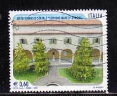 ITALIA REPUBBLICA ITALY REPUBLIC 2007 SCUOLE D'ITALIA LICEO GINNASIO STATALE SCIPIONE MAFFEI DI VERONA USATO USED - 6. 1946-.. Repubblica