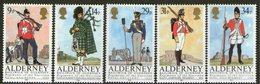 ALDERNEY, 1985 GARRISON REGIMENTS 5 MNH - Alderney