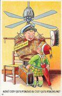 Illustration Humour: Le Sauve Qui Peut - Couple D'enfants - Carte A.P.F. N° 10 Non Circulée - Humour