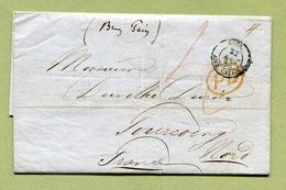 """ AMBULANT CALAIS - ANGL. "" + "" PD "" Rouge  (1856) + TAXE Pour TOURCOING (Brun Pain) - 1840-1901 (Victoria)"