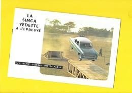 """Banc D'Essai  """"SIMCA VEDETTE""""  12 Pages Format 23 X 15 Cm Env. - Voitures"""