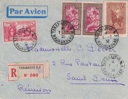 MADAGASCAR - POSTE AERIENNE VOYAGE D'ETUDE MADAGASCAR REUNION 8 JUILLET 1938 - SUPER AFFRANCHISSEMENT RECOMMANDE AVION - Luchtpost