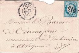 VAUCLUSE - MENERBES - GC SUPPLEMENTAIRE 6105 SUR CERES N°60 - DU 29 OCTOBRE 1873 - DECHIRURE D'OUVERTURE - COTE 300€ - I - Storia Postale