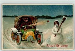 53027387 - 1908 Schneemann Auto Neujahr - New Year