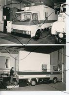 2 PHOTO  NB . CAMION . SALON POIDS LOURD 1980  . LOCAMION LAMBERT UNIC 65 U 10 . FRAPPA VOLKSWAGEN LT 35 . - Automobiles