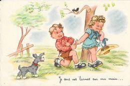 Illustration J. Gougeon: Je Sens Vos Larmes Sur Ma Main... Carte S.P. Non Circulée - Gougeon