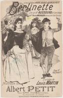 (GEO2)BERLINETTE  , AUSSOURD  , MURGER  , Paroles LOUIS MARTIN , Musique ALBERT PETIT  , Illustreation TUCK - Partitions Musicales Anciennes